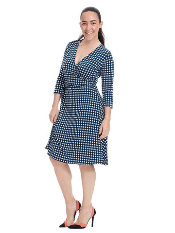 Perfect Wrap Dress In Gingham Marine