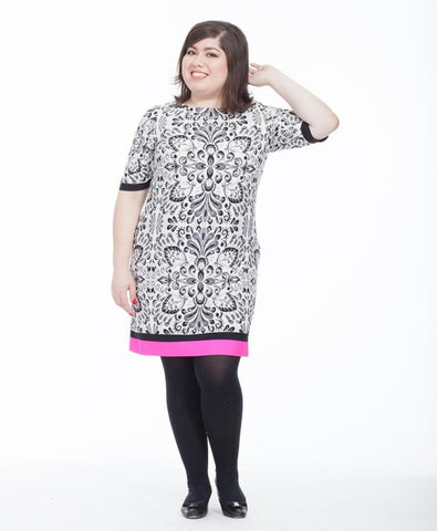 Shift Dress In Damask Print