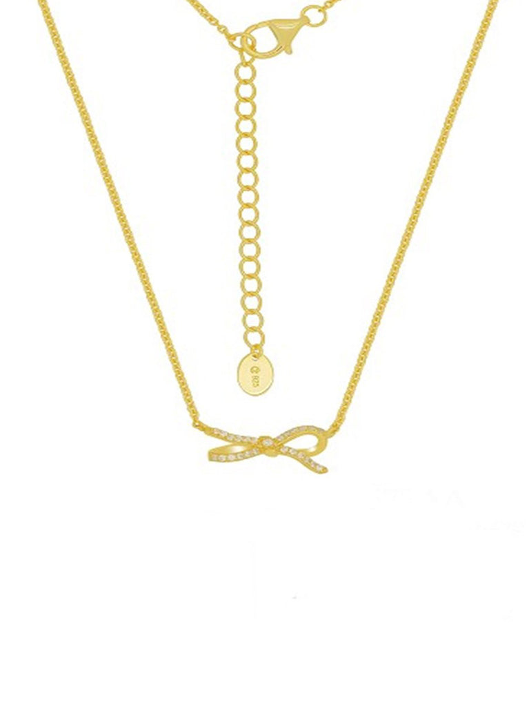 Golden Sparkling Lazo Bow Necklace