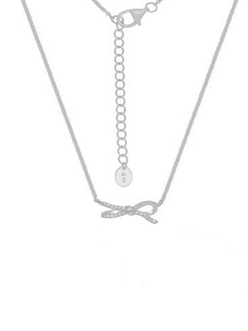 Silver Sparkling Lazo Bow Necklace