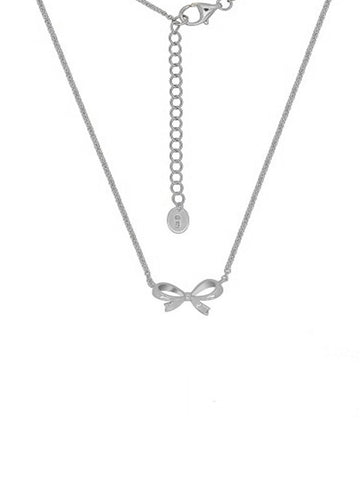 Silver Lazo Bow Necklace