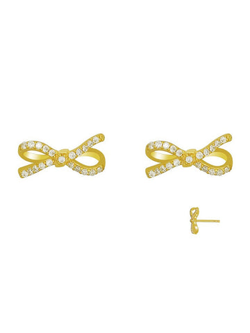 Sparkling Lazo Bow Stud Earrings In Gold