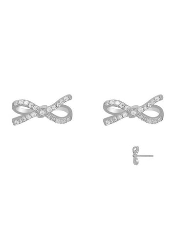 Sparkling Lazo Bow Stud Earrings