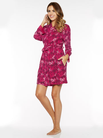 Printed Short Robe In Fuchsia Floral