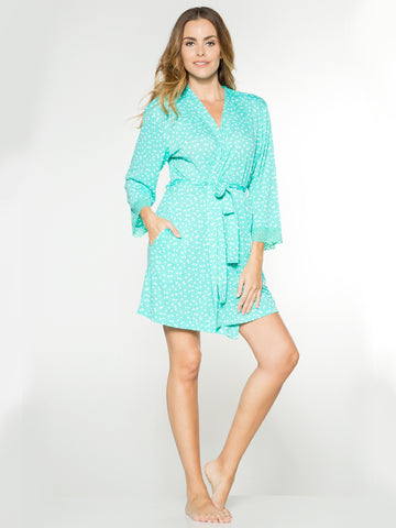 Printed Short Robe In Mini Dot