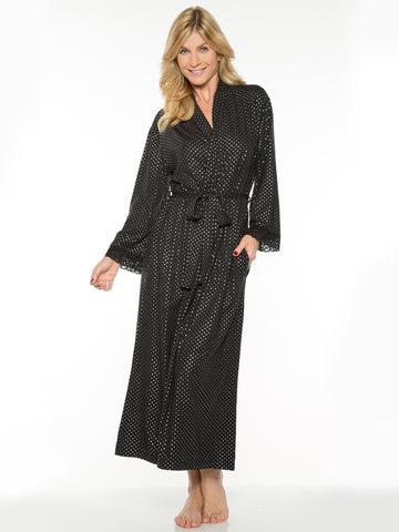 Printed Long Robe In Black And Silver Dot