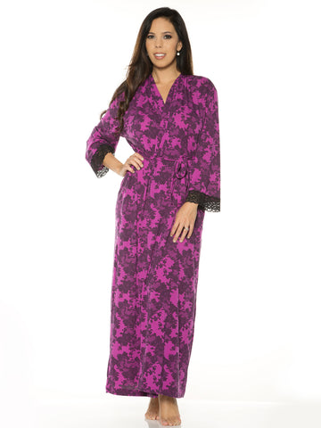 Printed Long Robe In Lace Print