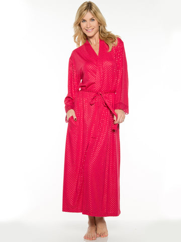 Printed Long Robe In Red And Gold Dot