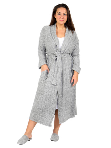 Heather Grey Fleece Wrap Robe