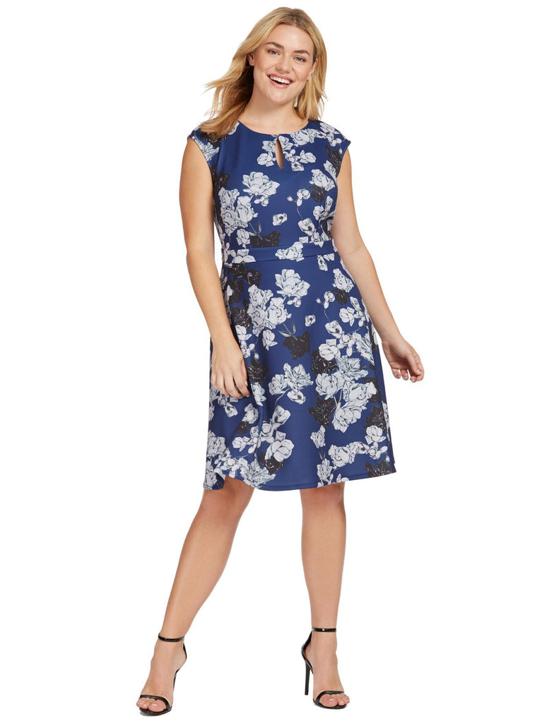 Keyhole Fit & Flare Dress In Navy Floral Print