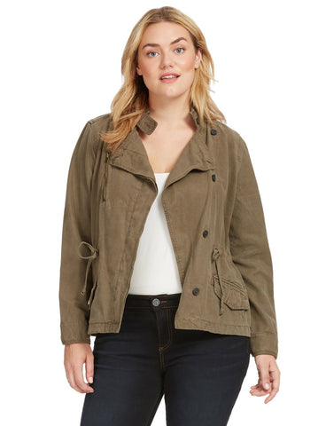 Asymmetrical Military Jacket In Dark Sage