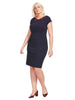 Fitted Dress In Navy And Wine