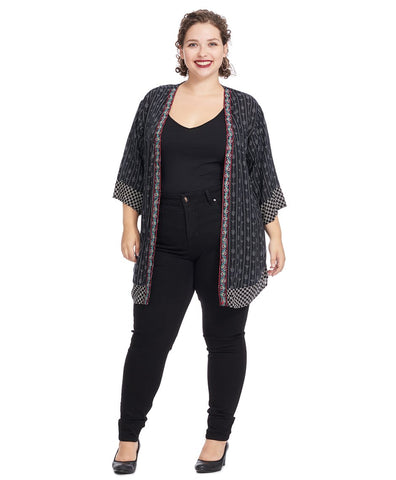 Elbow-Length Cardigan In Black White Print With Border