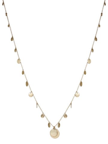 Long Disc Necklace In Gold
