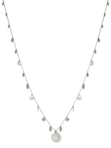 Long Disc Necklace In Silver