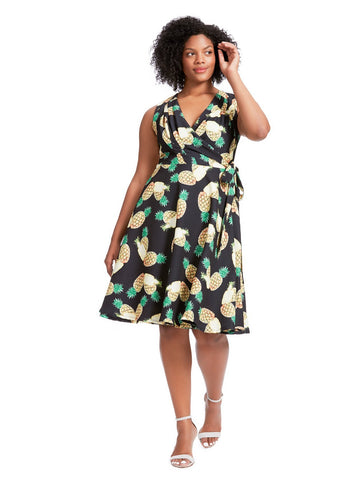 Sleeveless Kelsie Wrap Dress In Pineapple Print