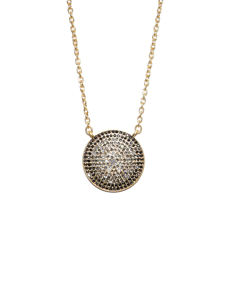 Pave Disc Necklace In Gold