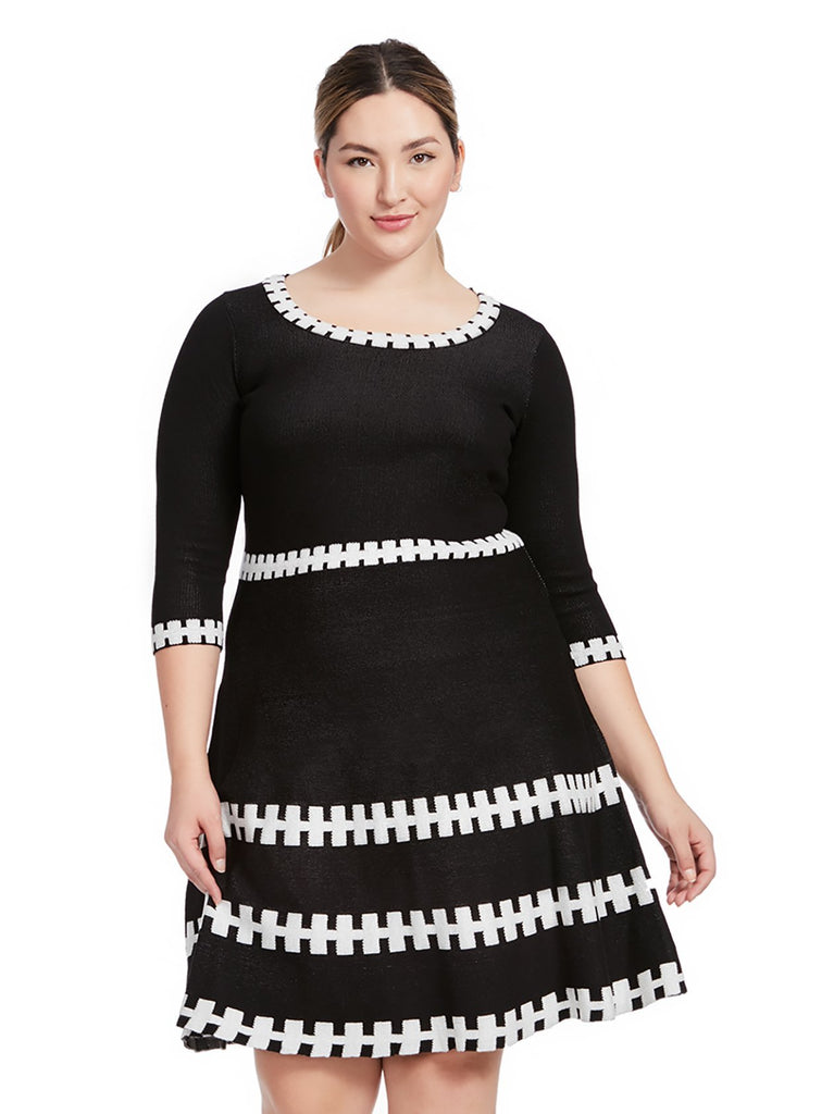 Printed Sweater Dress In Black and Ivory