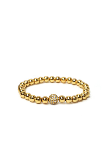 Metal Pave Stretch Bracelet In Gold