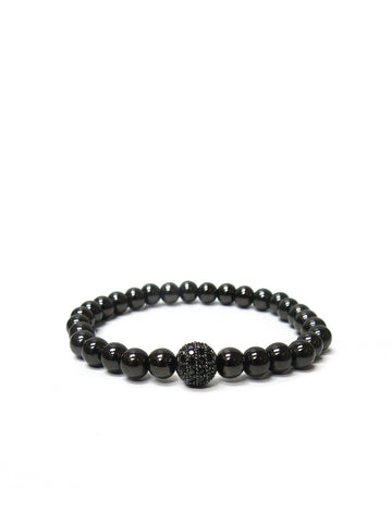 Metal Pave Stretch Bracelet In Hematite
