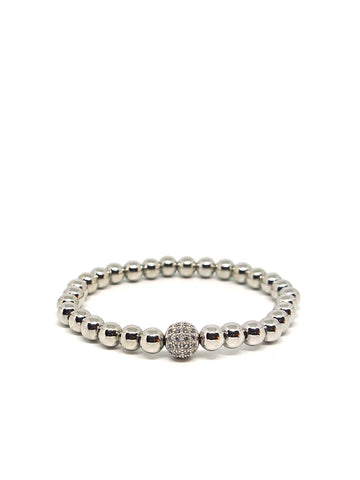 Metal Pave Stretch Bracelet In Silver