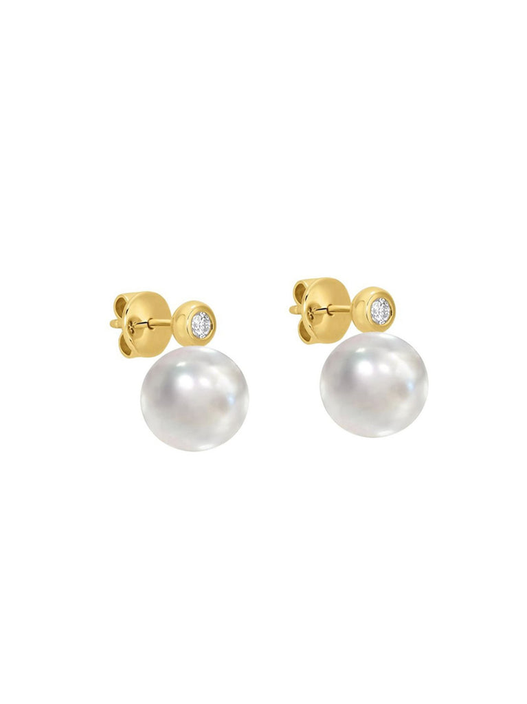 Paris Pearl And CZ Stud Earring In Gold
