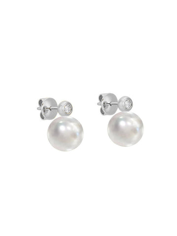 Paris Pearl And CZ Stud Earring In Silver