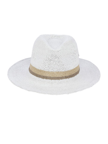 Jovanna Fedora In White, Birch And Linen