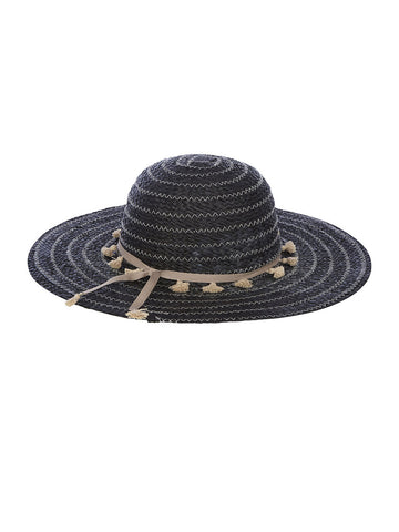 Julissa Sunhat In Black And Linen