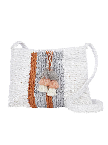 Salento Crossbody In White And Salmon