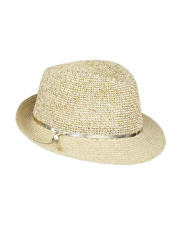 Zra Fedora In Natural And Gold