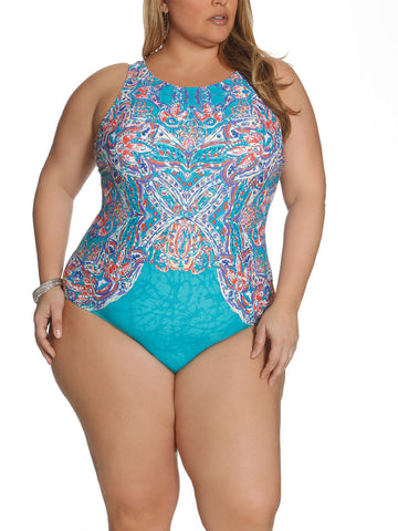 Tapestry Dream High Neck One Piece In Multi Turquoise