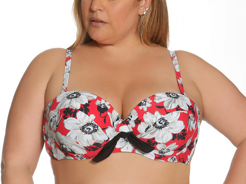 Blossom Bikini Top In Red Floral