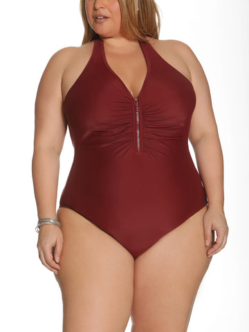 Solid As A Rock Zipper One Piece In Burgundy