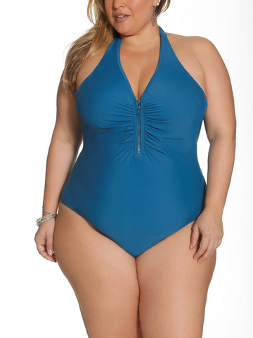 Solid As A Rock Zipper One Piece In Lagoon Blue