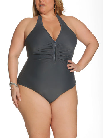 Solid As A Rock Zipper One Piece In Slate