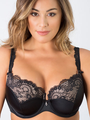 Tulip Lace Push Up Bra In Black