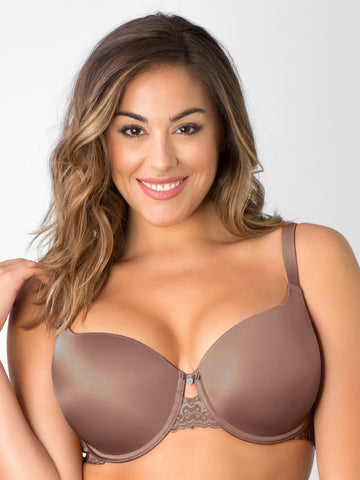Lace Shine T-Shirt Bra In Taupe