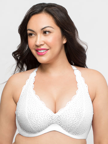 Crochet Lace Halter Bralette In White