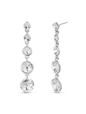 Round Crystal Graduated Dangle Earrings