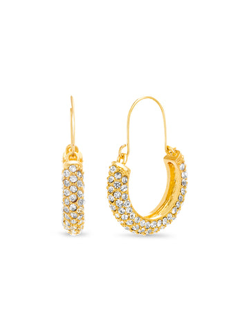 "Crystal Pave ""C"" Hoop Earrings"
