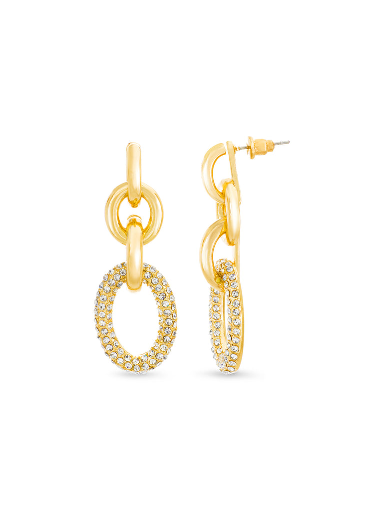 Pave Crystal Drop Down Interlock Post Earrings
