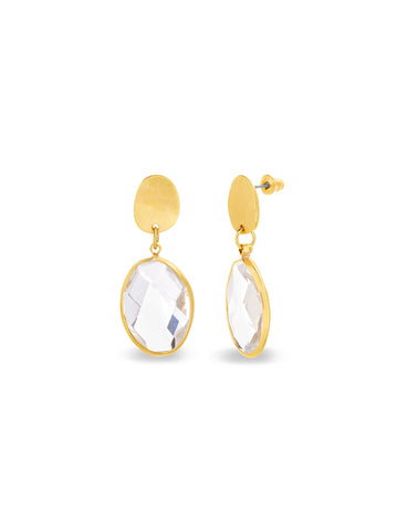 Crystal Geo-Oval Shape Drop Dangle Post Earrings