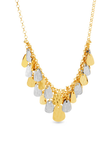 Two-Tone Teardrop Hammered Dangle Layered Statement Necklace