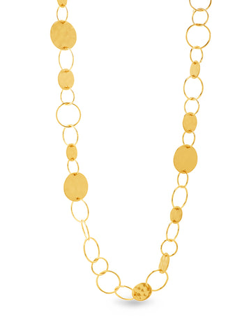 Hammer Disc Open Circle Chain Necklace