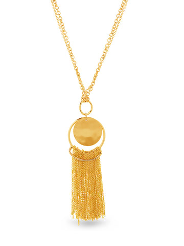 Circle Pendant Tassel Long Statement Necklace