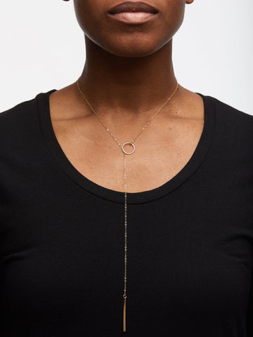 Cascade Lariat Necklace In Gold Tone