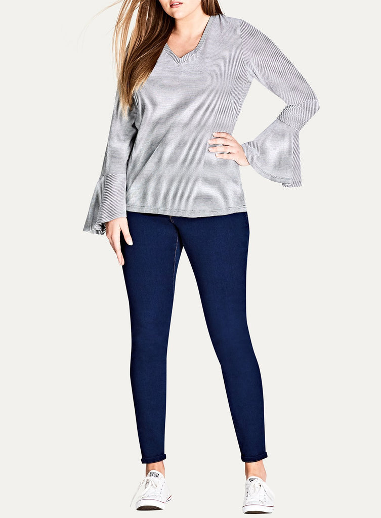 Bell Sleeve Stripe V Neck Top
