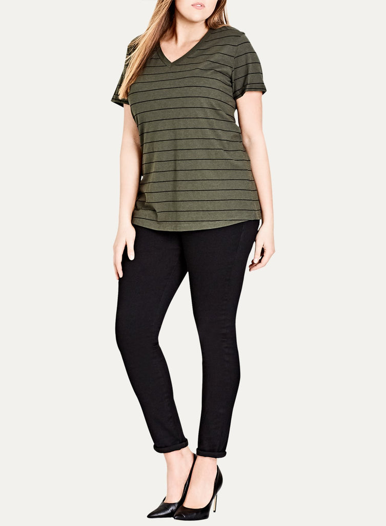 V-Neck BF Stripe Top
