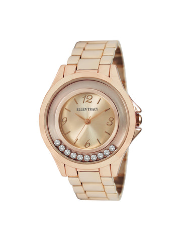 Rose Gold Tone Floating Stone Dial Watch